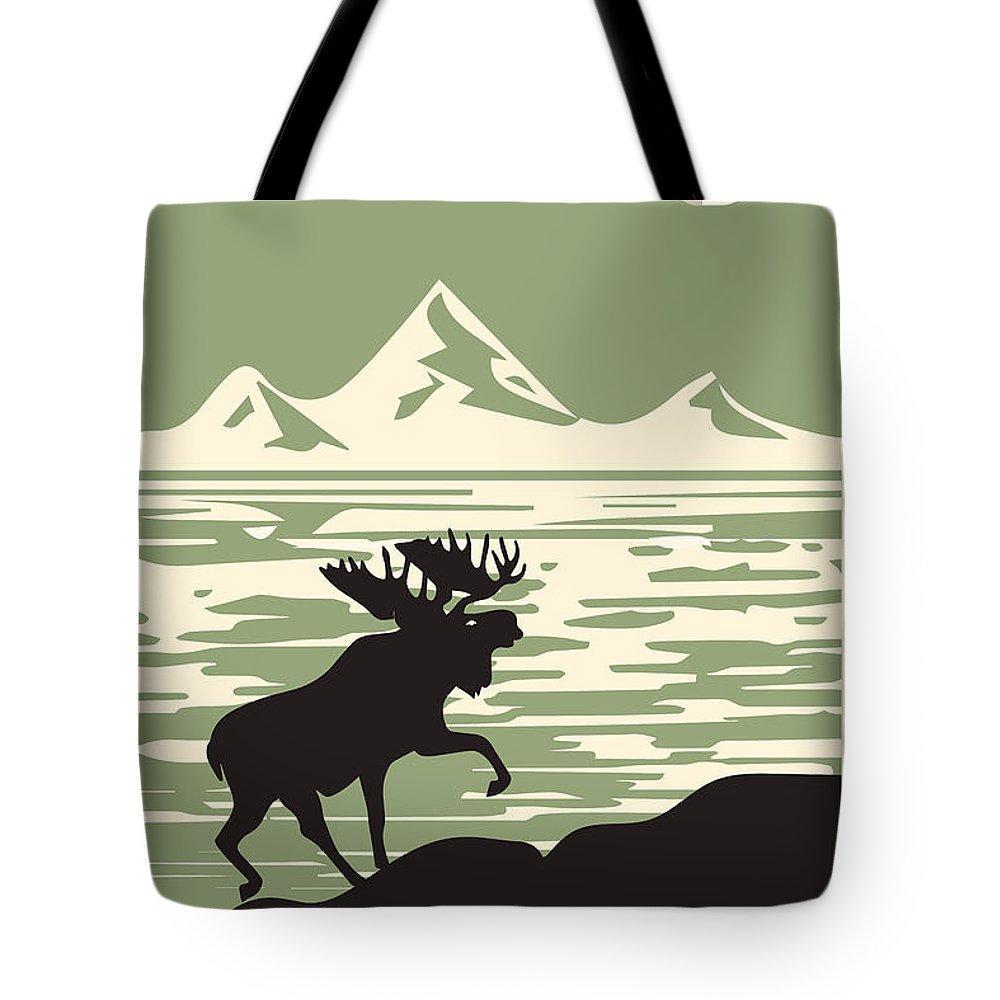 Alaska Denali National Park Poster Tote Bag featuring the digital art Alaska Denali National Park Poster by Celestial Images
