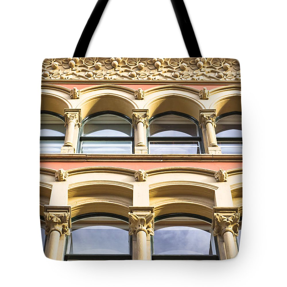Apartments Tote Bag featuring the photograph Arch Windows by Tom Gowanlock