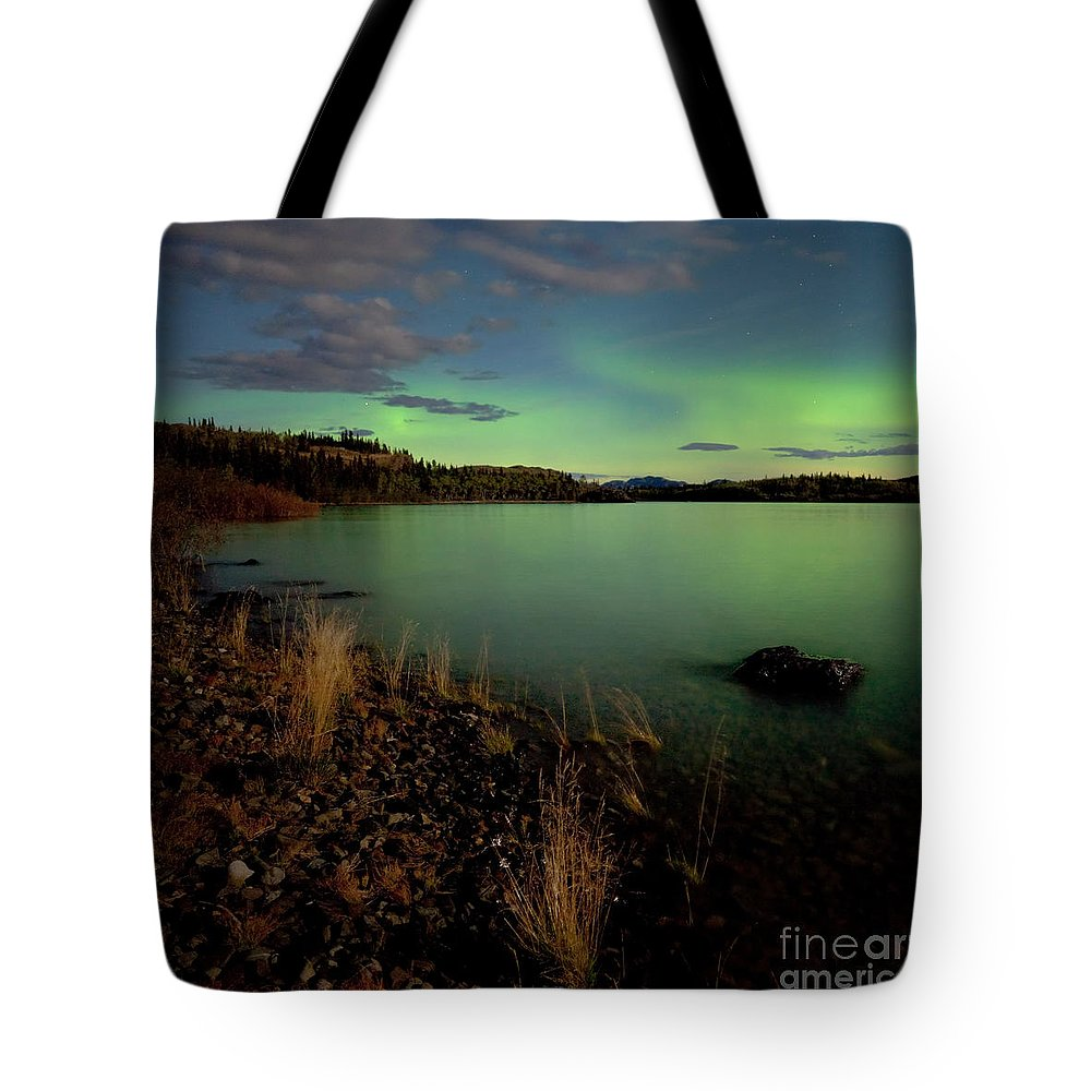 Above Tote Bag featuring the photograph Aurora Borealis Northern Lights Display by Stephan Pietzko