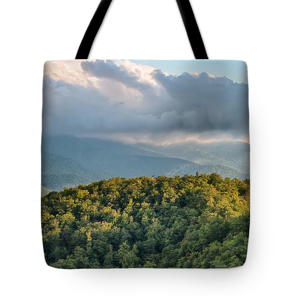 Mountains Tote Bag featuring the photograph Blue Ridge Parkway Scenic Mountains Overlook Summer Landscape by Alex Grichenko