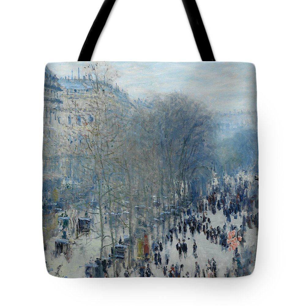 Claude Monet Tote Bag featuring the painting Boulevard Des Capucines by Claude Monet