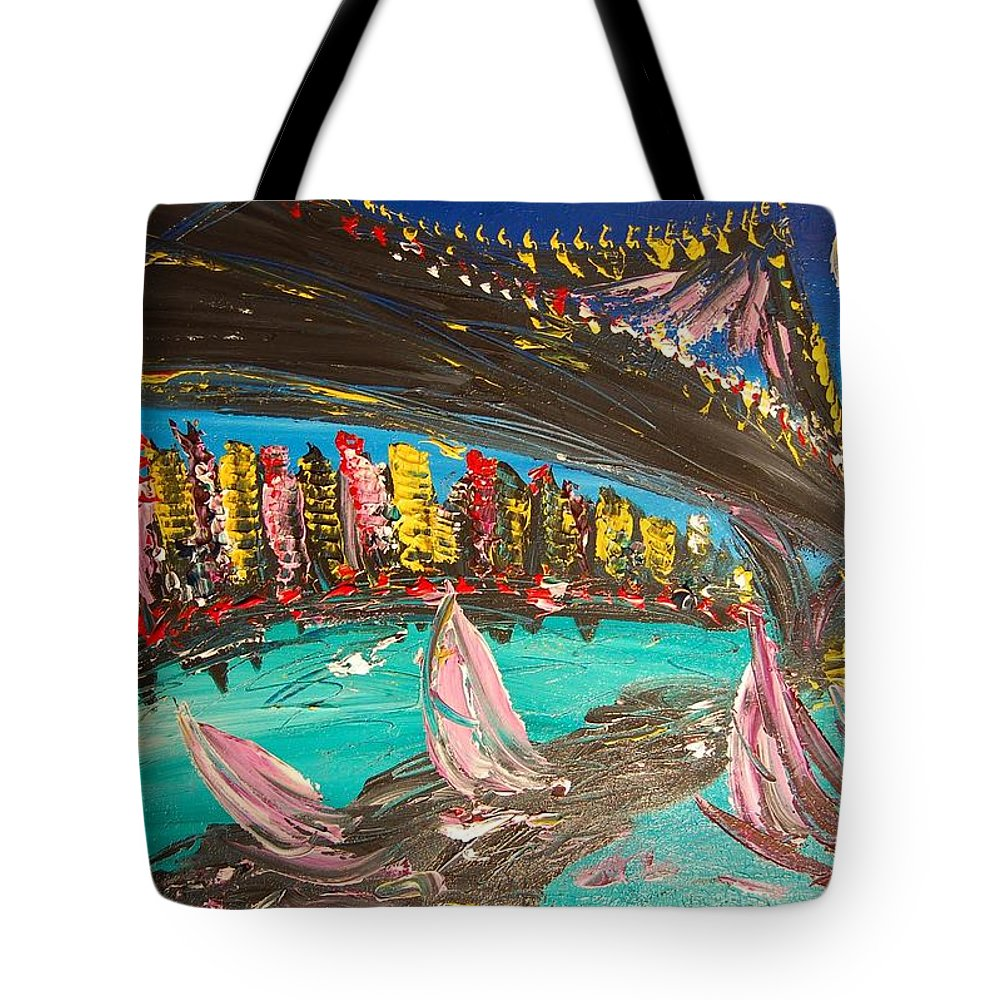 Tote Bag featuring the painting Brooklyn by Mark Kazav