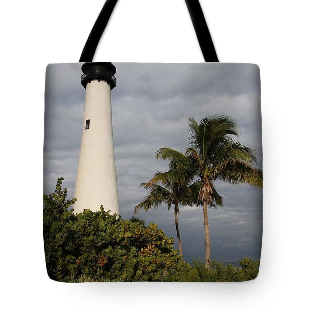 Lighthouse Tote Bag featuring the photograph Cape Florida Lighthouse by Christiane Schulze Art And Photography