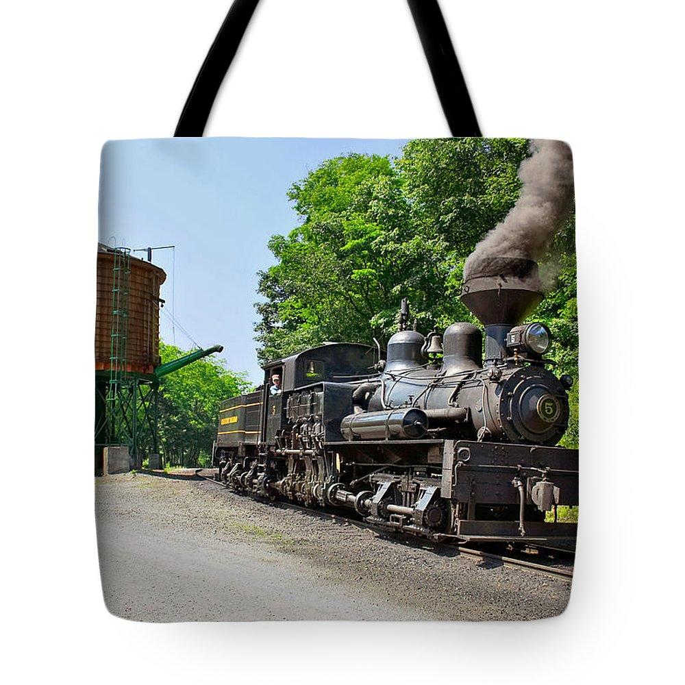 Train Tote Bag featuring the photograph Cass Scenic Railroad by Mary Almond