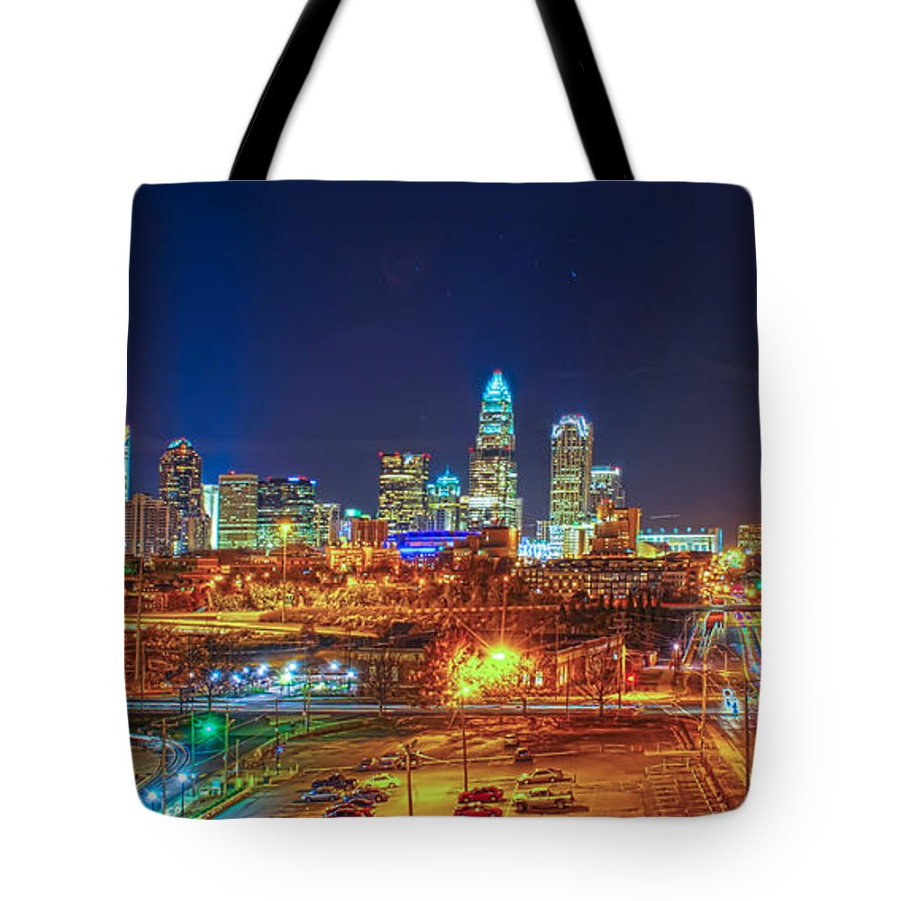 2012 Tote Bag featuring the photograph Charlotte City Skyline Night Scene by Alex Grichenko