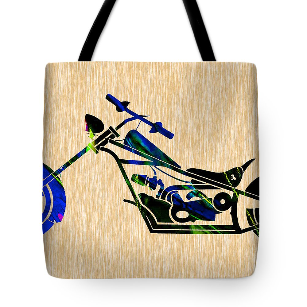 Motorcycle Tote Bag featuring the mixed media Chopper Motorcycle by Marvin Blaine