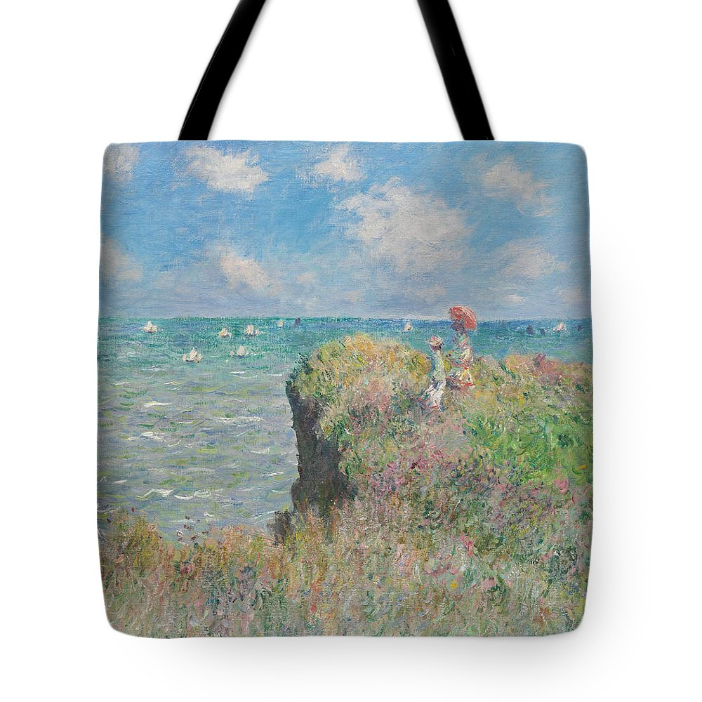 Claude Monet Tote Bag featuring the painting Cliff Walk At Pourville by Claude Monet