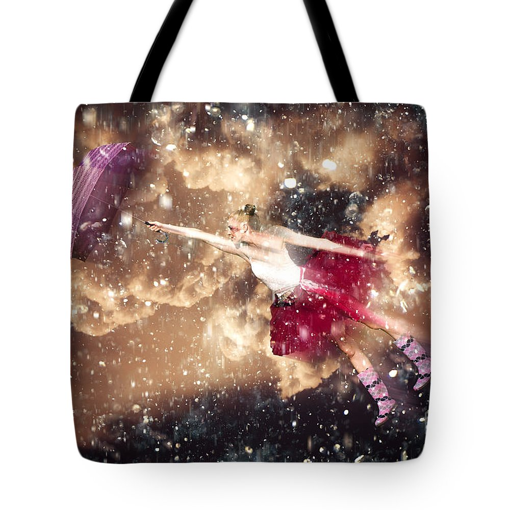 Blonde Tote Bag featuring the photograph Dancing In The Rain by Jorgo Photography - Wall Art Gallery