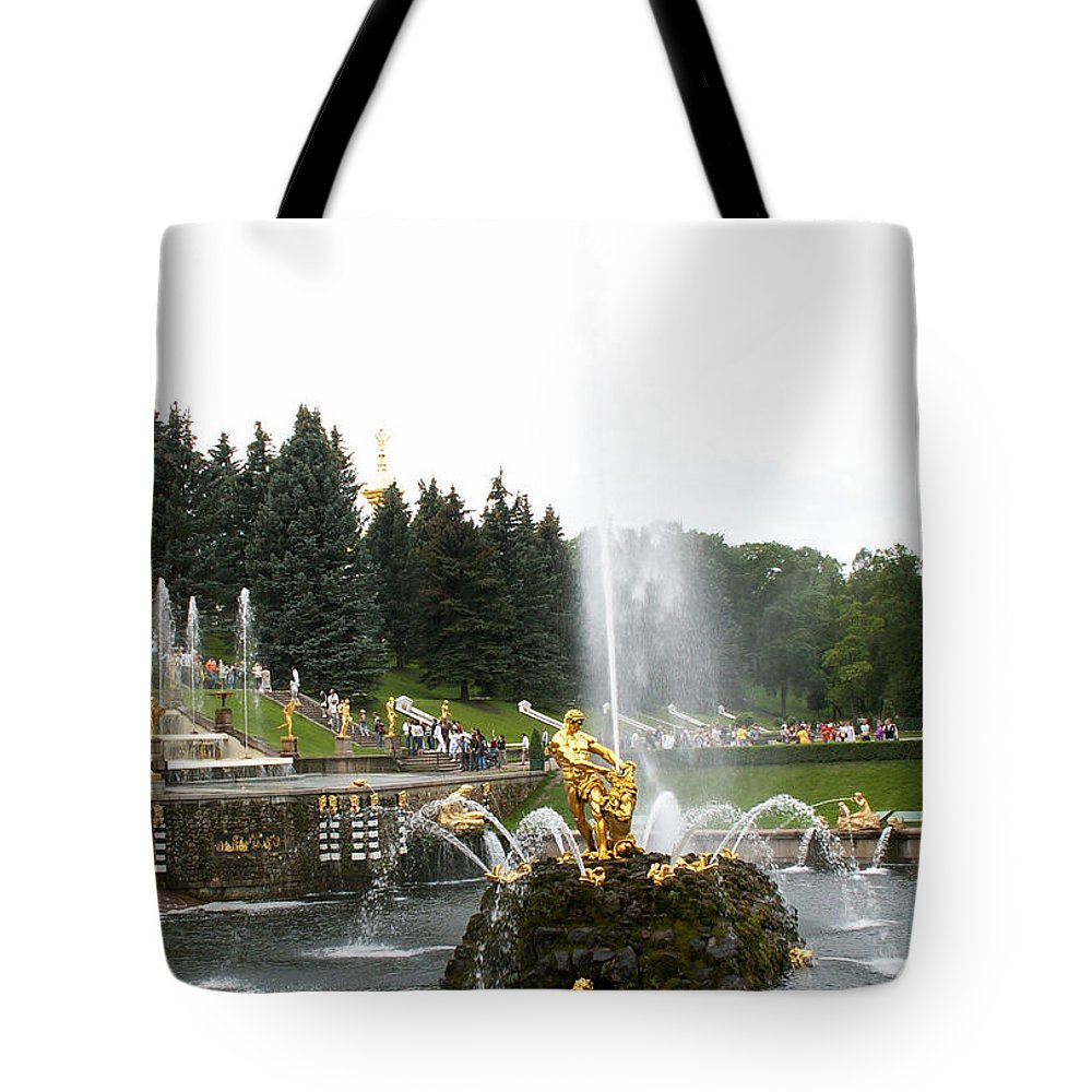 Fountain Tote Bag featuring the photograph Fountain In Petergof by Evgeny Pisarev