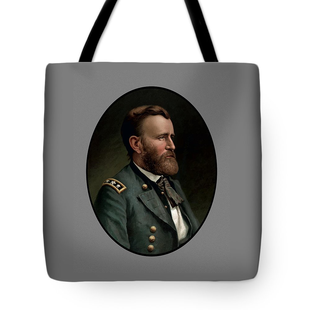 Civil War Tote Bag featuring the painting General Grant - Three by War Is Hell Store
