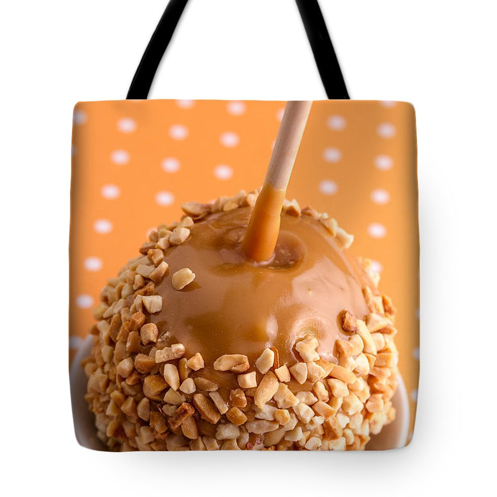 Halloween Treat Tote Bag featuring the photograph Hand Dipped Caramel Apples by Teri Virbickis