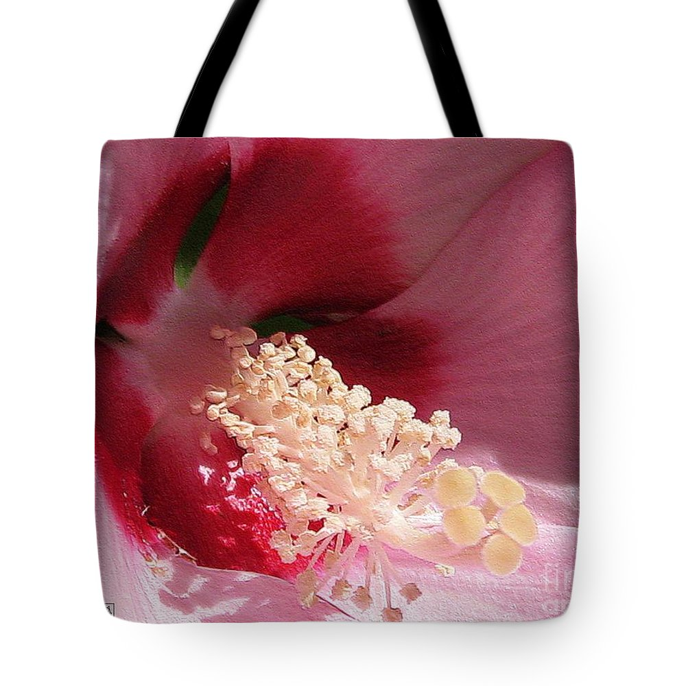 Hibiscus Moscheutos Tote Bag featuring the digital art Hibiscus Moscheutos Named Luna Pink Swirl by J McCombie