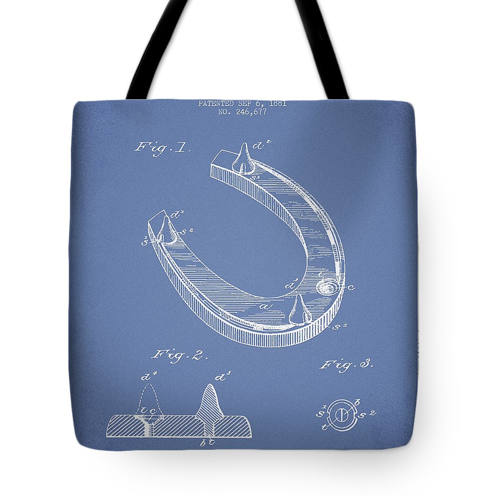 Horseshoe Tote Bag featuring the digital art Horseshoe Patent Drawing From 1881 by Aged Pixel