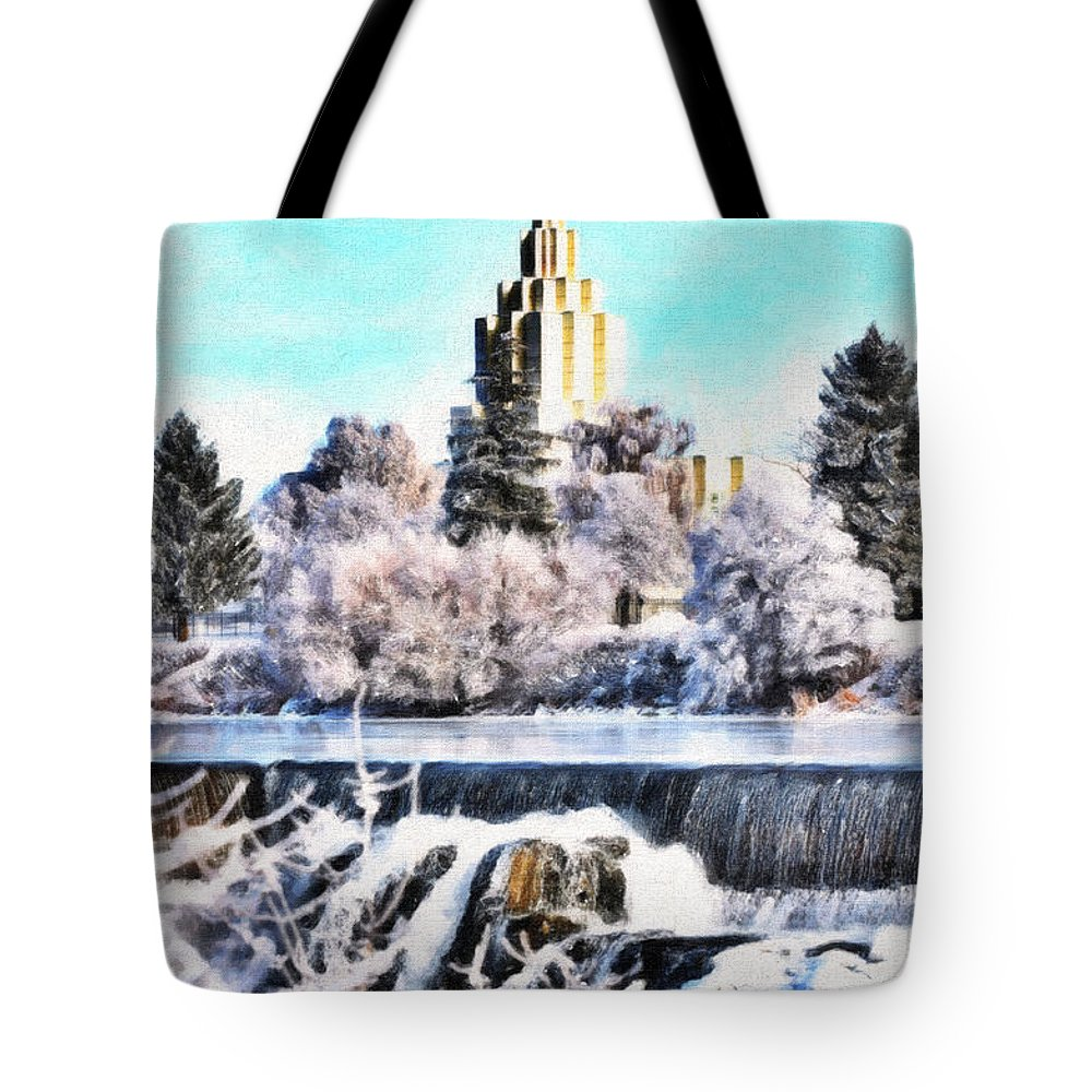 Temple Tote Bag featuring the photograph Idaho Falls Temple by Image Takers Photography LLC