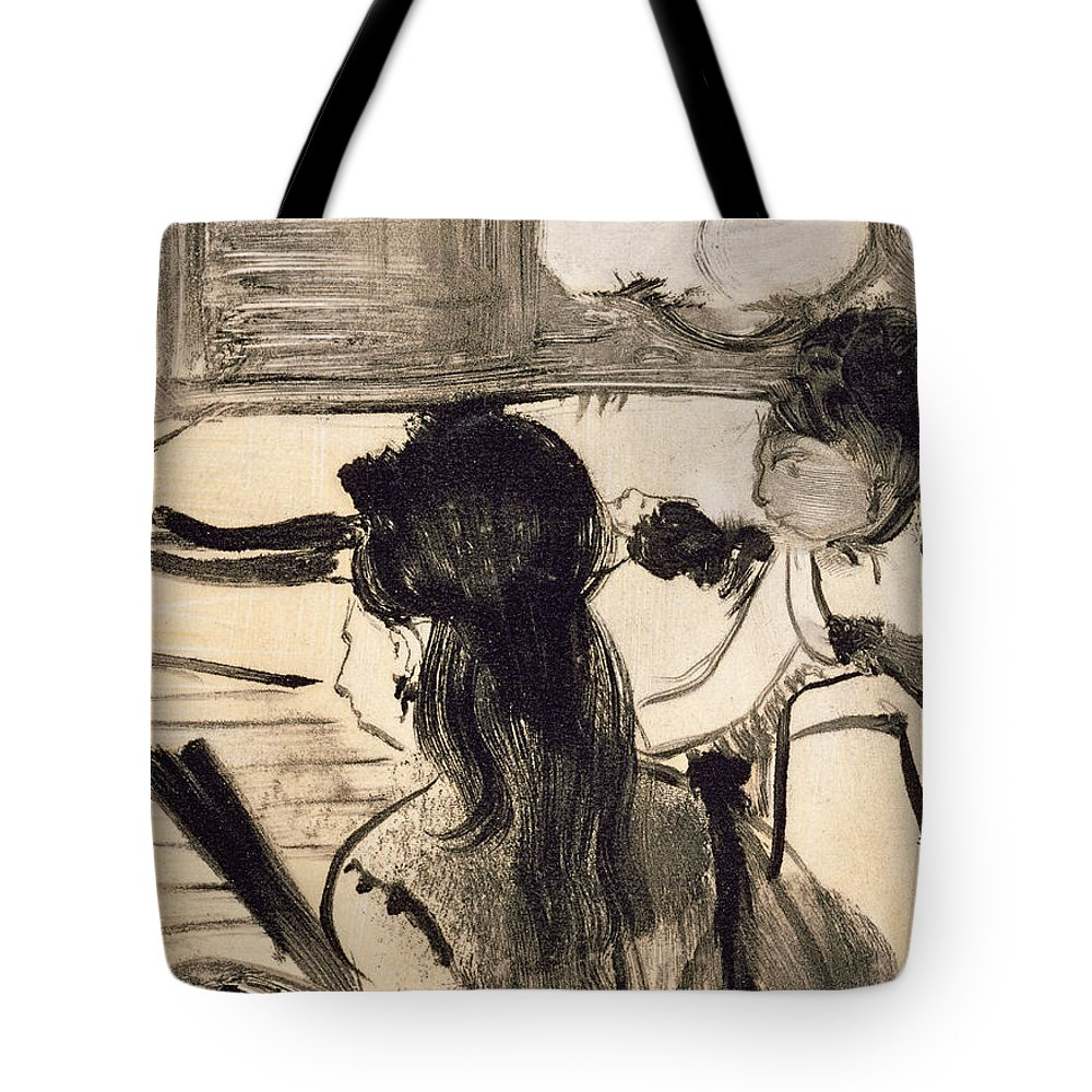 Interior Tote Bag featuring the drawing Illustration From La Maison Tellier By Guy De Maupassant by Edgar Degas