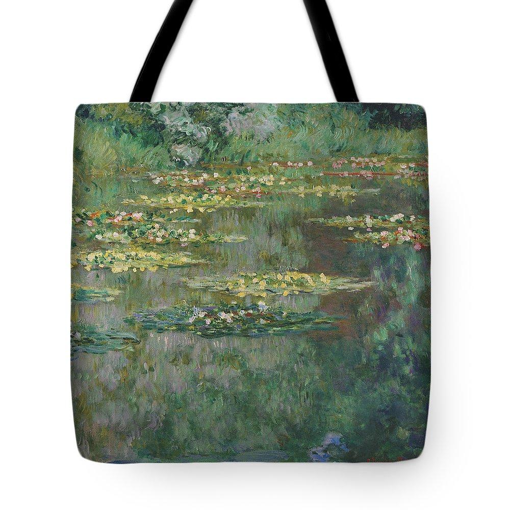 Claude Monet Tote Bag featuring the painting Le Bassin Des Nympheas by Claude Monet