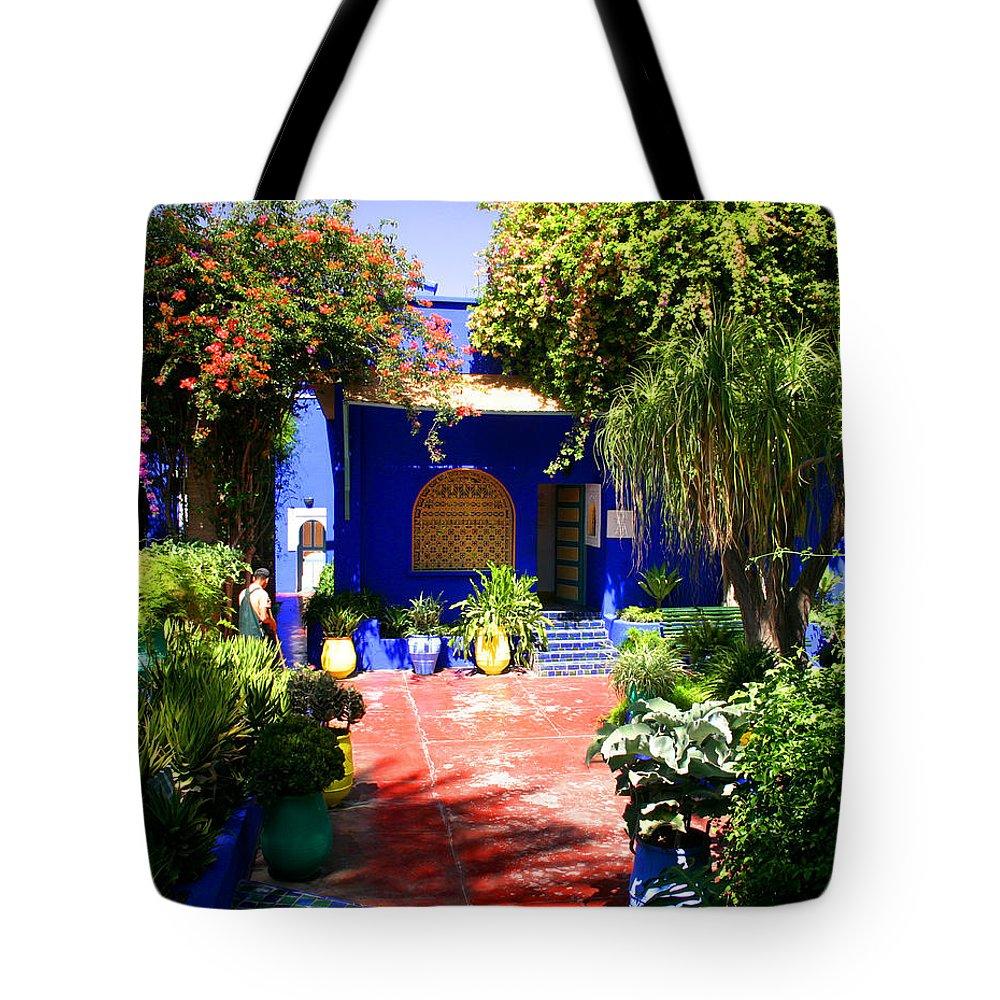Majorelle Garden Tote Bag featuring the photograph Majorelle Garden Marrakesh Morocco by Ralph A Ledergerber-Photography
