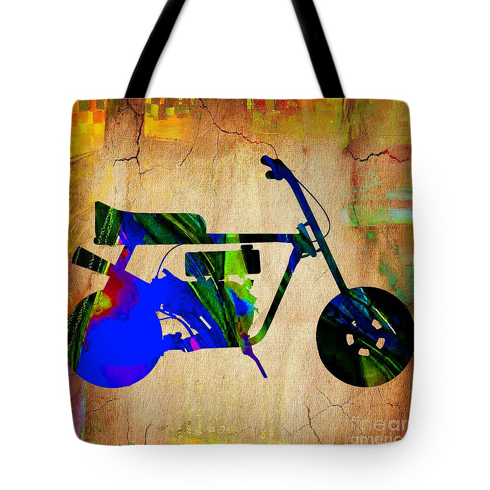 Mini Bike Tote Bag featuring the mixed media Mini Bike by Marvin Blaine