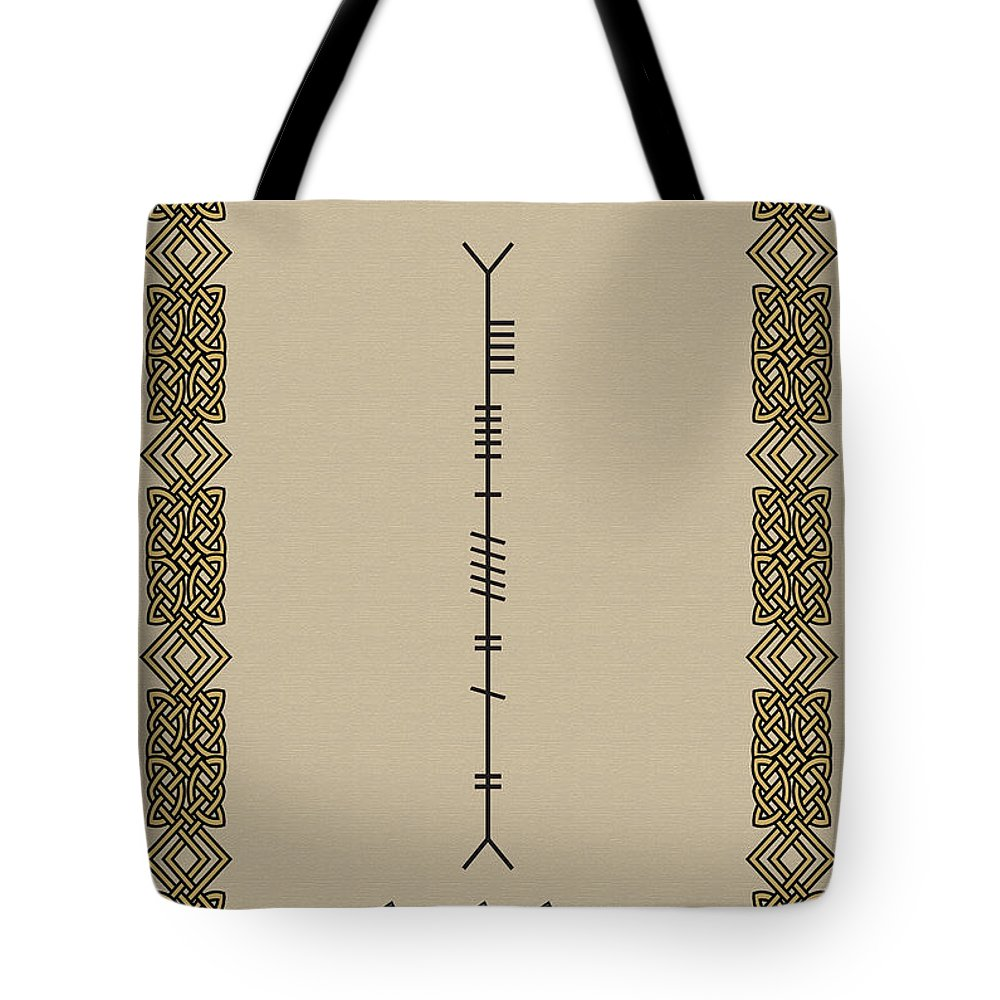 Moran Tote Bag featuring the digital art Moran Written In Ogham by Ireland Calling