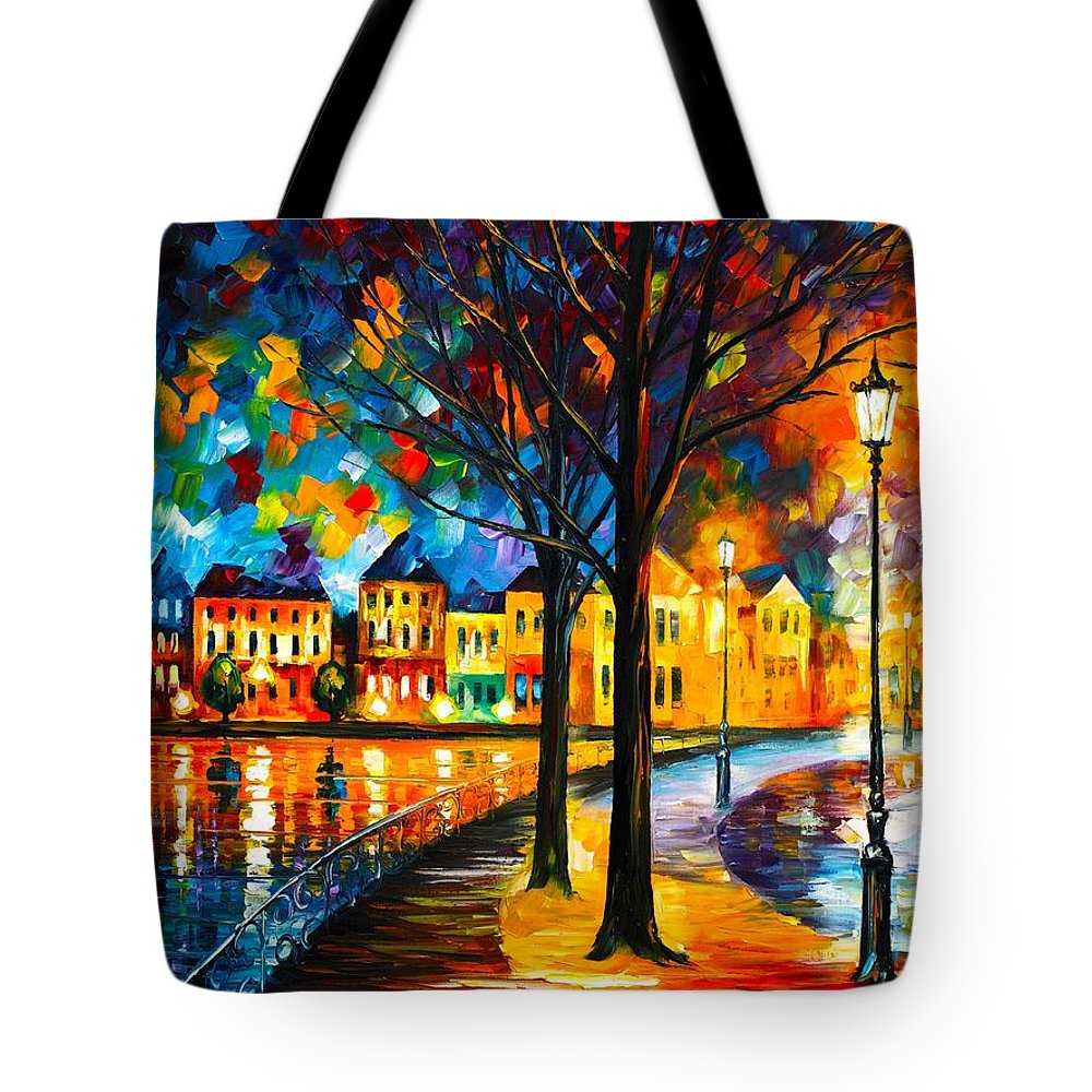 Afremov Tote Bag featuring the painting Park By The River by Leonid Afremov