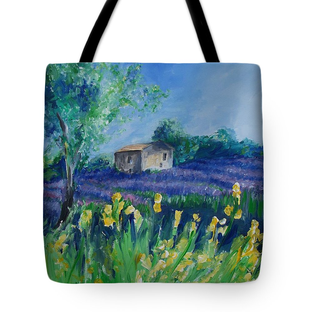 Provence Tote Bag featuring the painting Provence Lavender Field by Eric Schiabor