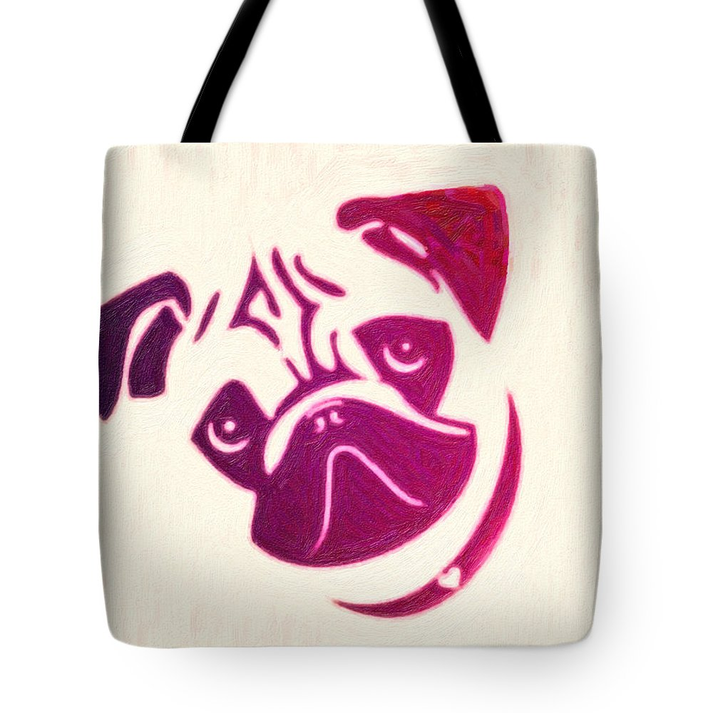 Pug The Dog Poster Tote Bag featuring the painting Pug The Dog by MotionAge Designs