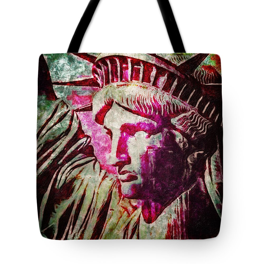 Statue Liberty Poster Tote Bag featuring the painting Statue Liberty by MotionAge Designs