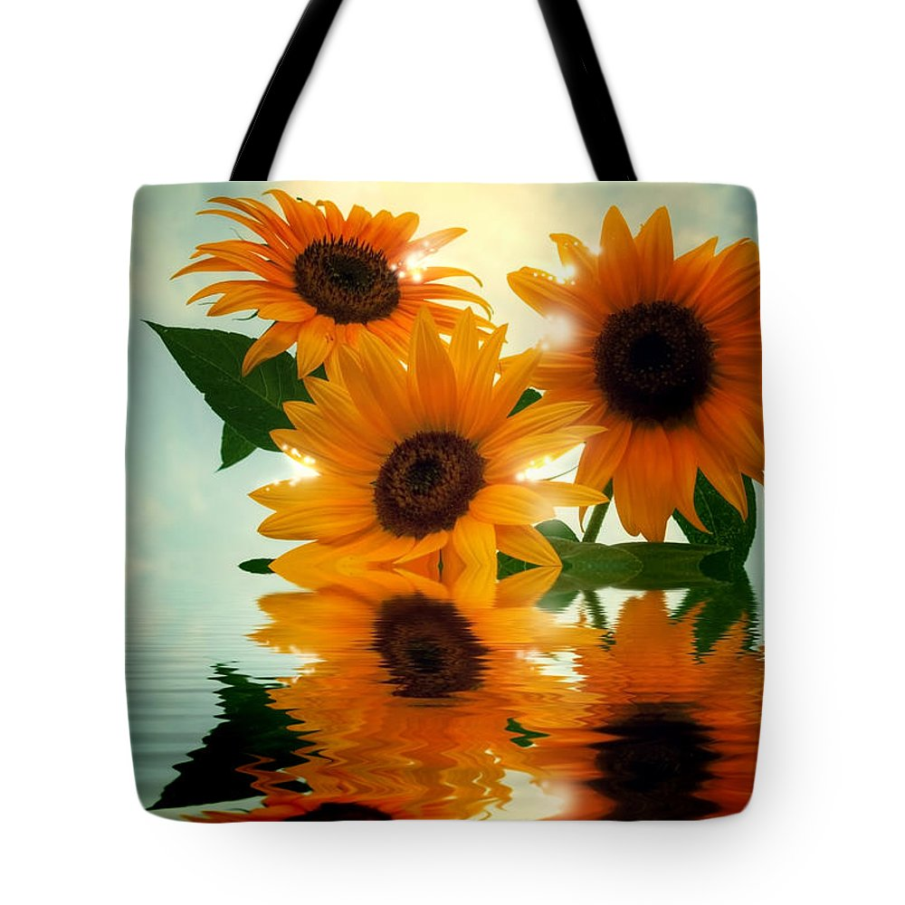 Sommer Tote Bag featuring the pyrography Sunflowers by Steffen Gierok