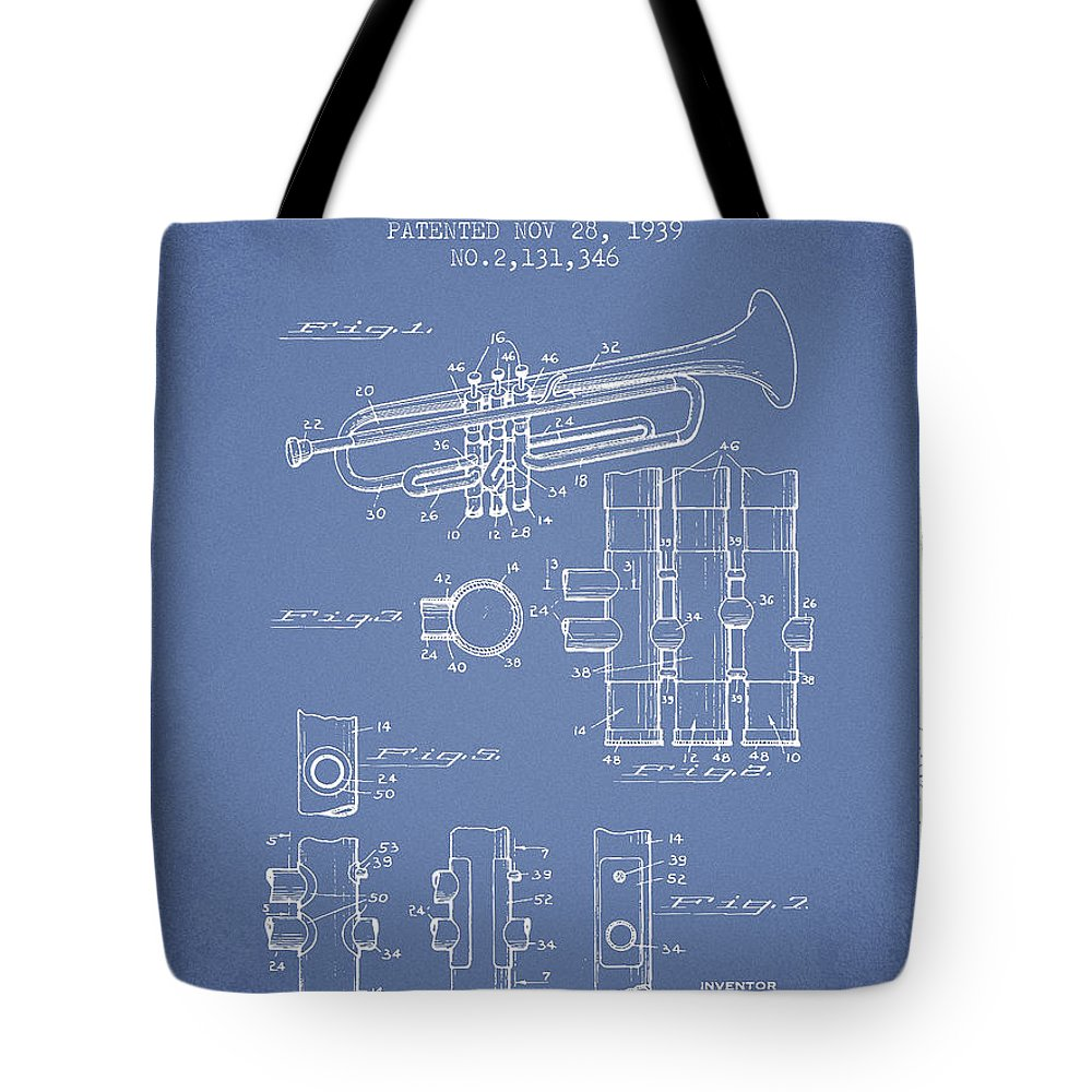Trumpet Tote Bag featuring the digital art Trumpet Patent From 1939 - Light Blue by Aged Pixel