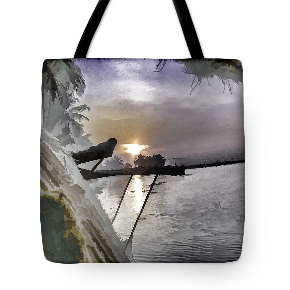 Alleppey Tote Bag featuring the digital art View Of Sunrise From Boat by Ashish Agarwal