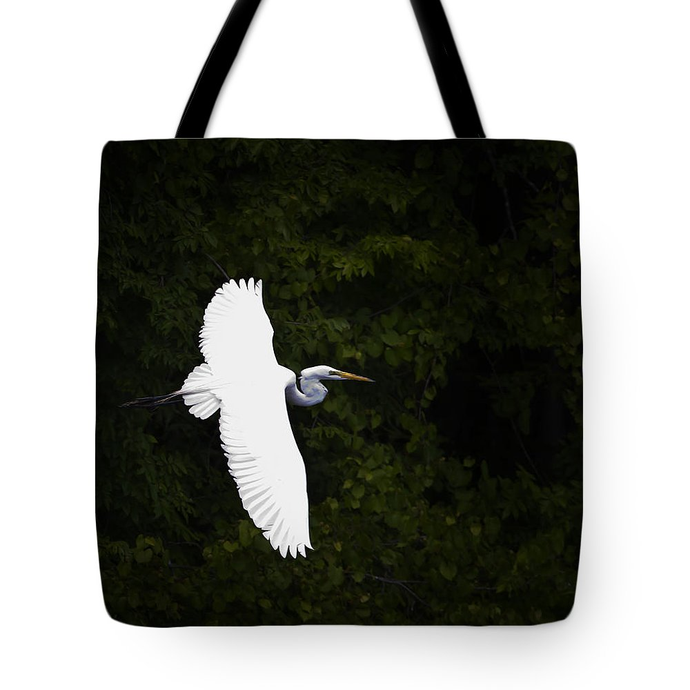 Bird Tote Bag featuring the photograph White Egret In Flight by J L Woody Wooden