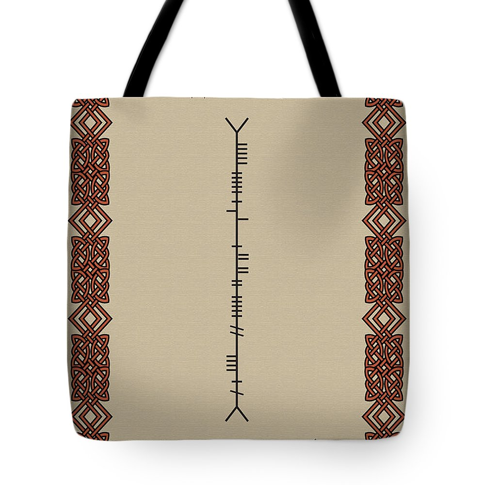 White Tote Bag featuring the digital art White Written In Ogham. by Ireland Calling