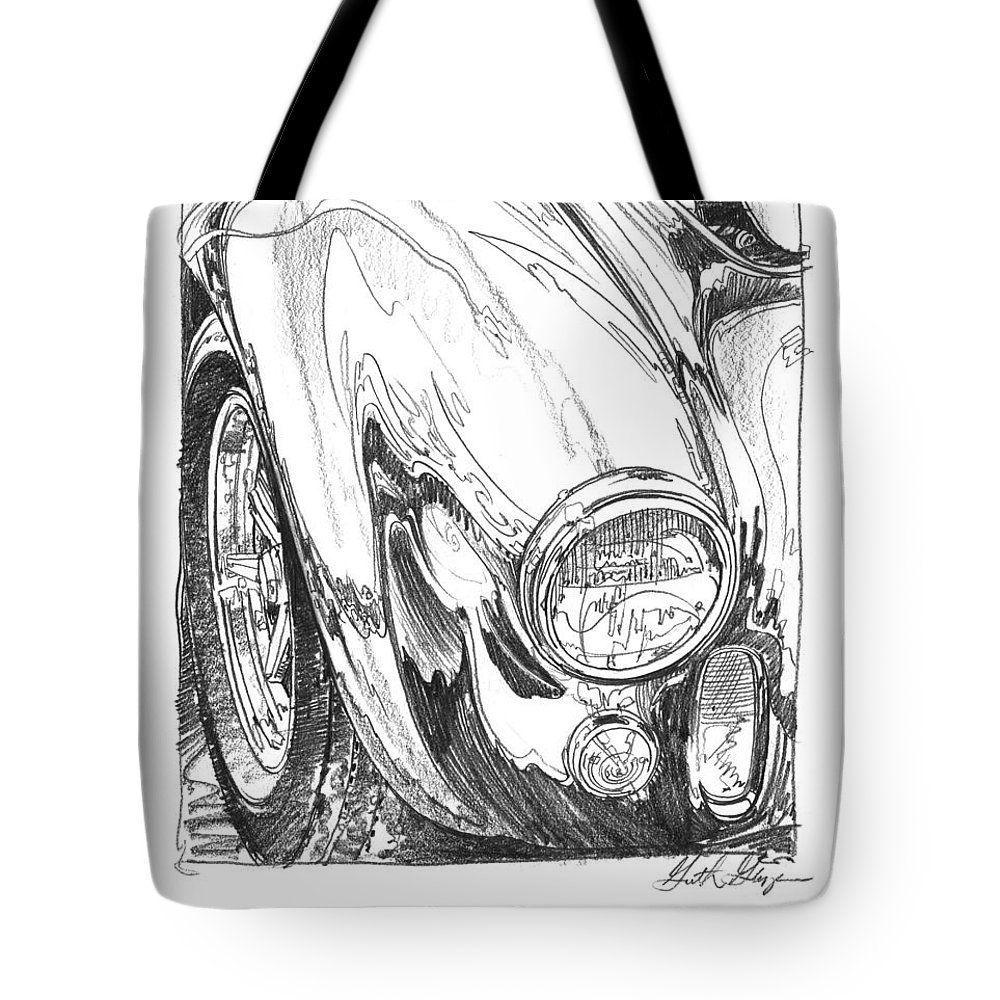 Car Drawing Tote Bag featuring the drawing 427 Cobra Study 427 by Garth Glazier