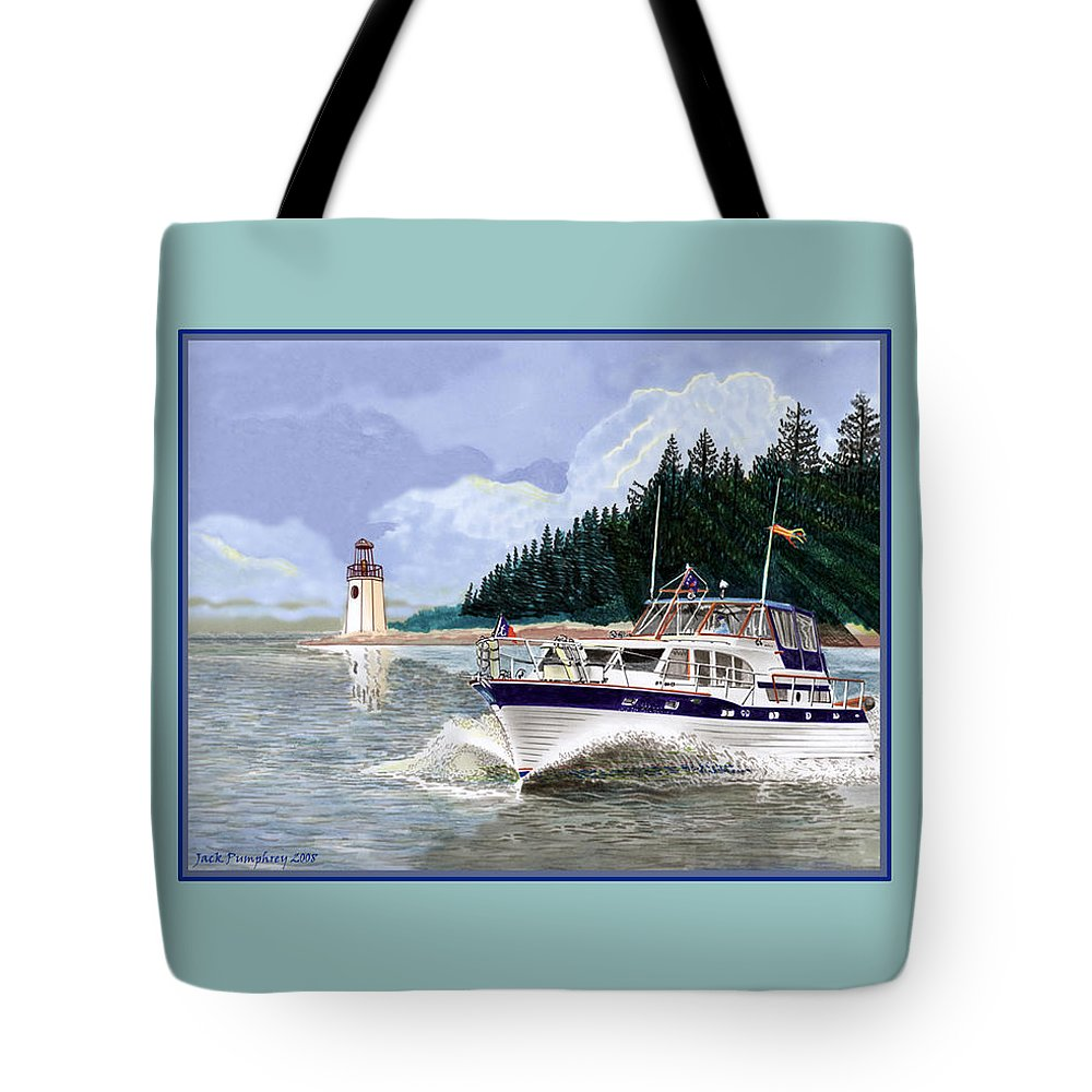 Yacht Portraits Tote Bag featuring the painting 43 Foot Tollycraft Southbound In Clovos Passage by Jack Pumphrey