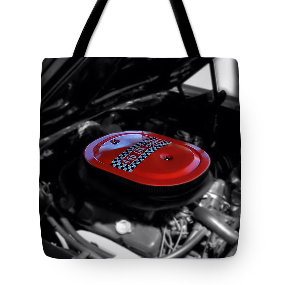 Selective Coloring Tote Bag featuring the photograph 440 Six Barrel Air Cleaner Selective Coloring Black And White by Thomas Woolworth