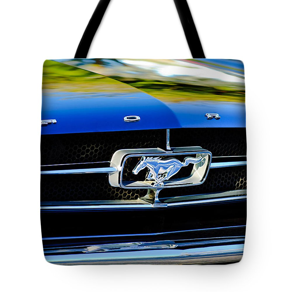 1965 Shelby Prototype Ford Mustang Grille Emblem Tote Bag featuring the photograph 1965 Shelby Prototype Ford Mustang Grille Emblem by Jill Reger