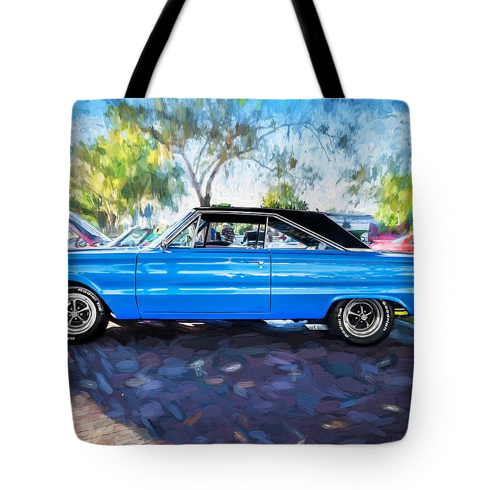 1967 Plymouth Tote Bag featuring the photograph 1967 Plymouth Belvedere Gtx 440 Painted by Rich Franco