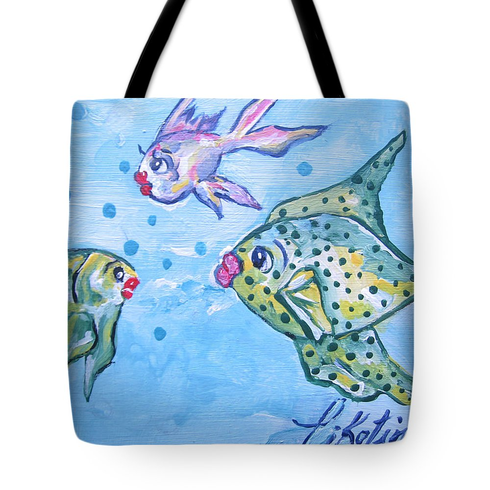 Pikotine Tote Bag featuring the painting Art Fish by Pikotine Art