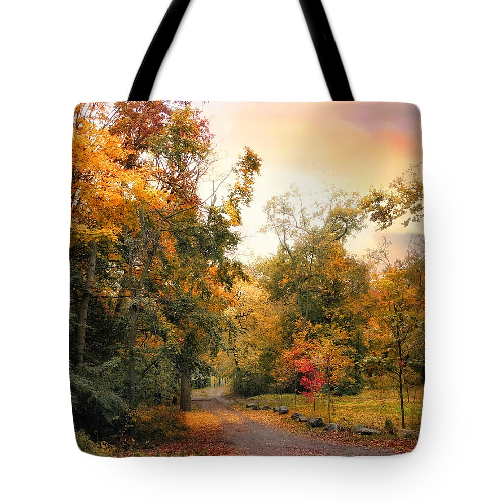 Autumn Tote Bag featuring the photograph Autumn's Sunset Path by Jessica Jenney