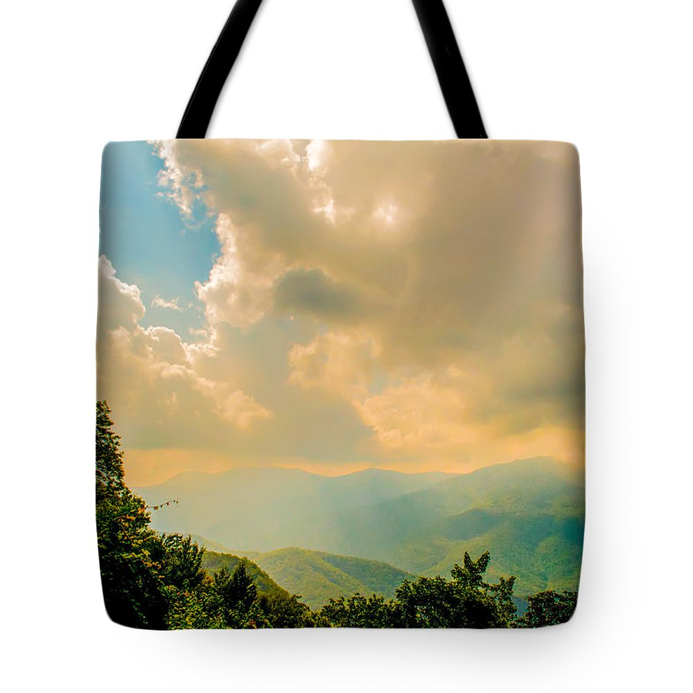 View Tote Bag featuring the photograph Blue Ridge Parkway Scenic Mountains Overlook by Alex Grichenko