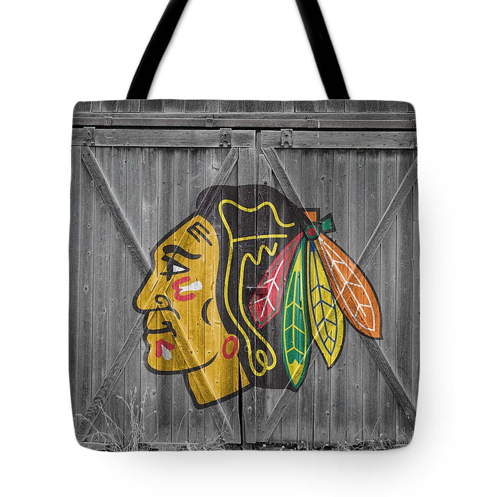 Blackhawks Tote Bag featuring the photograph Chicago Blackhawks by Joe Hamilton
