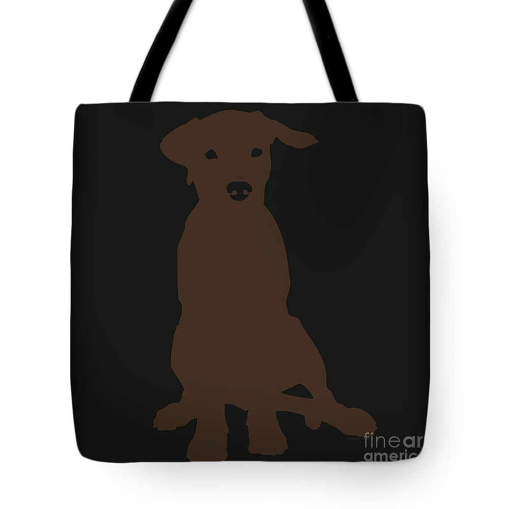 Silhouette Tote Bag featuring the digital art Chocolate Labrador by Elizabeth Harshman
