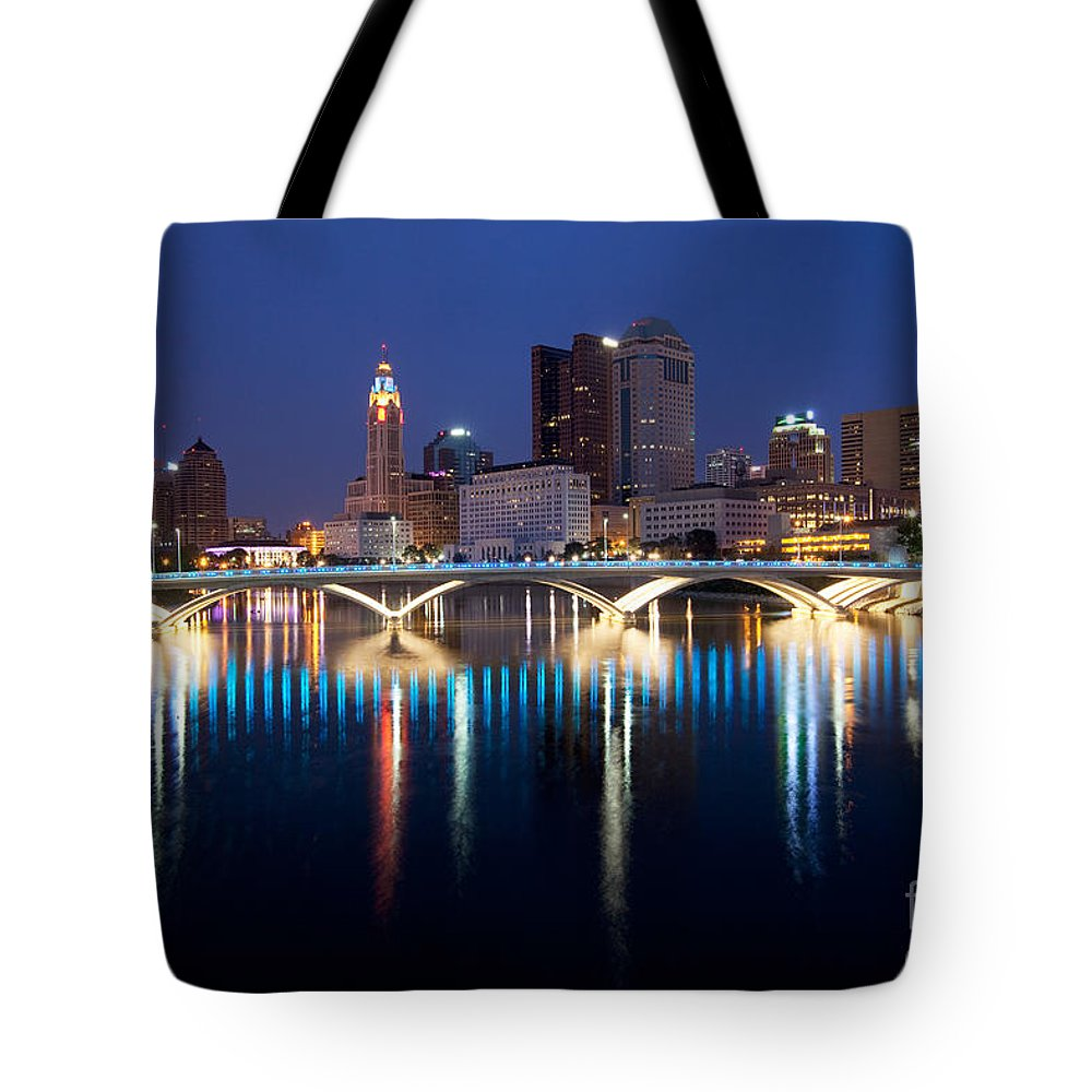 Columbus Tote Bag featuring the photograph Downtown Skyline Of Columbus by Bill Cobb