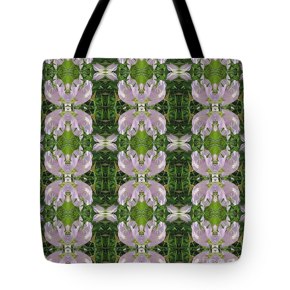 Heart Tote Bag featuring the photograph Flowers From Cherryhill Nj America Silken Sparkle Purple Tone Graphically Enhanced Innovative Patter by Navin Joshi