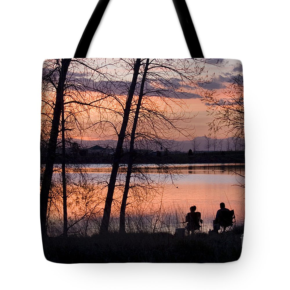 Colorado Tote Bag featuring the photograph Fly Fishing At Sunset by Steve Krull