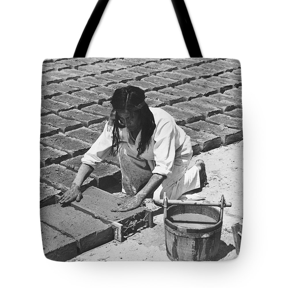1 Person Tote Bag featuring the photograph Indians Making Adobe Bricks by Underwood Archives Onia