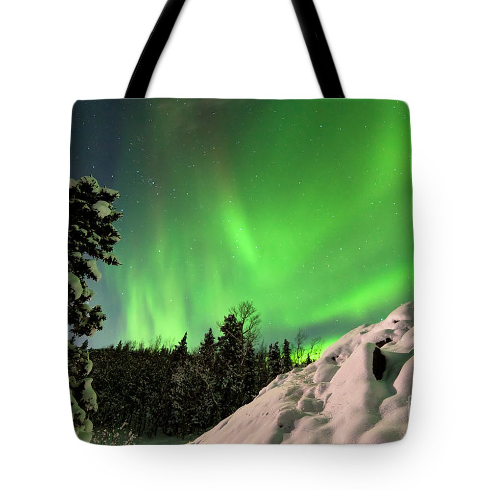 Alaska Tote Bag featuring the photograph Intense Display Of Northern Lights Aurora Borealis by Stephan Pietzko