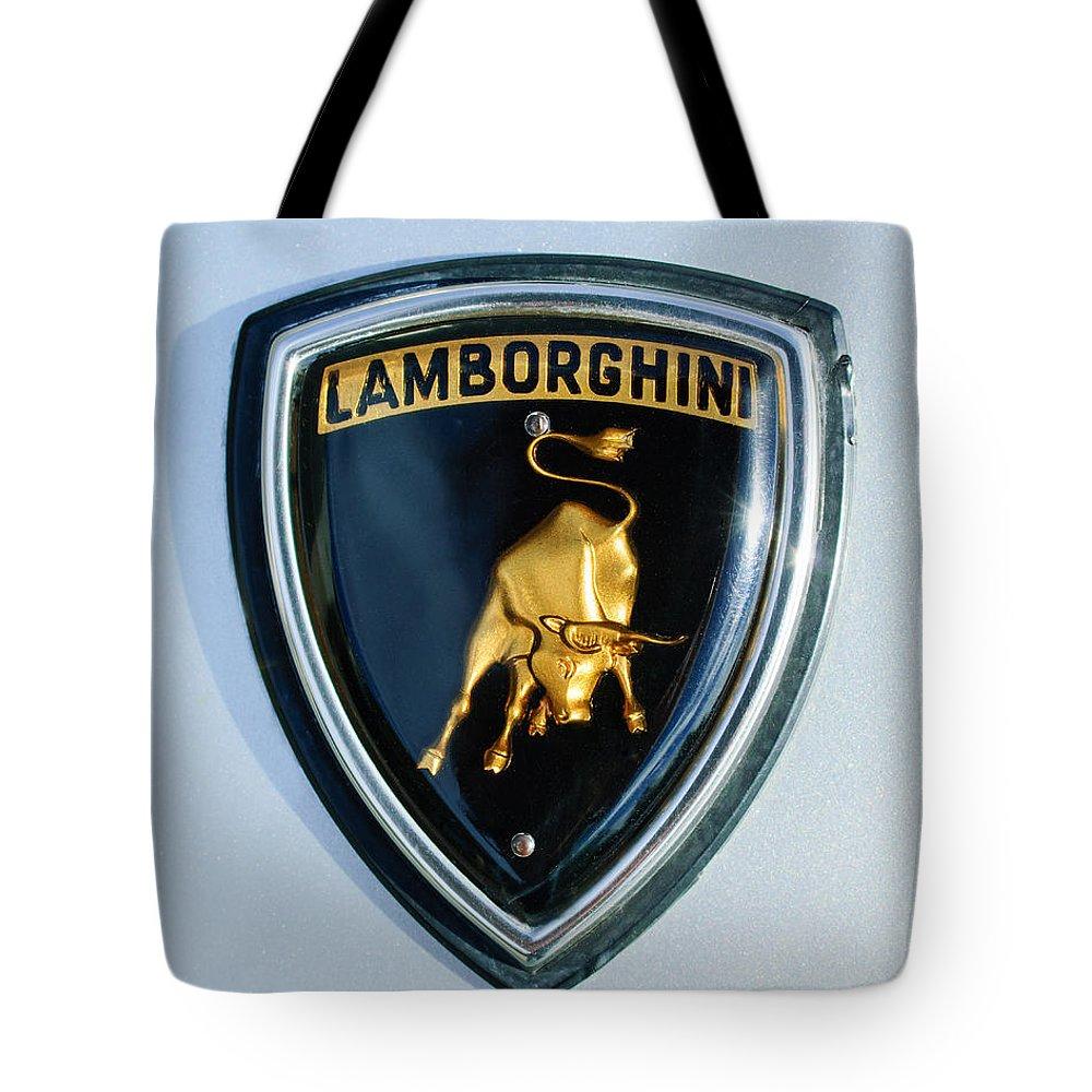 Lamborghini Emblem Tote Bag featuring the photograph Lamborghini Emblem by Jill Reger
