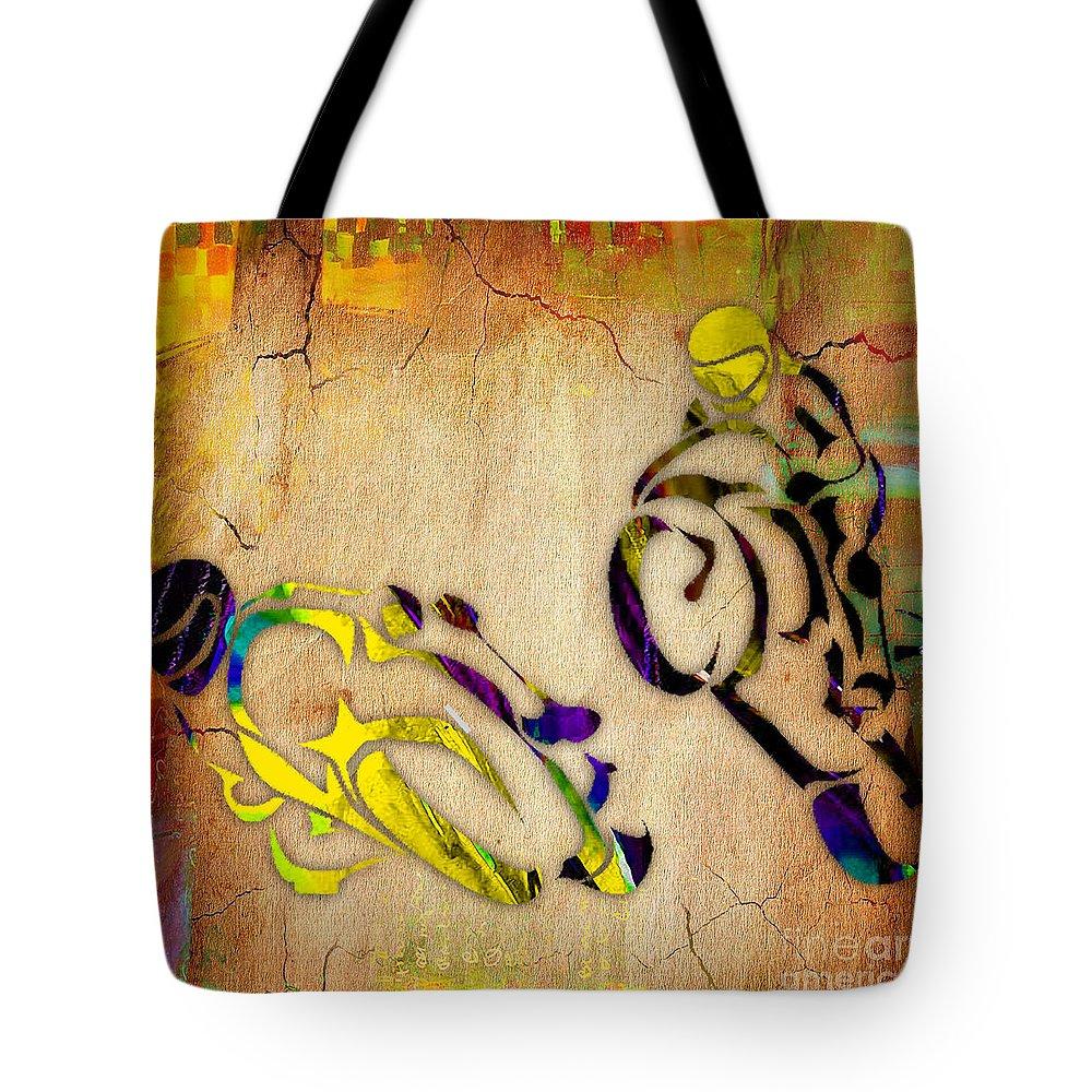 Motorcycle Tote Bag featuring the mixed media Motorcycle Racing by Marvin Blaine