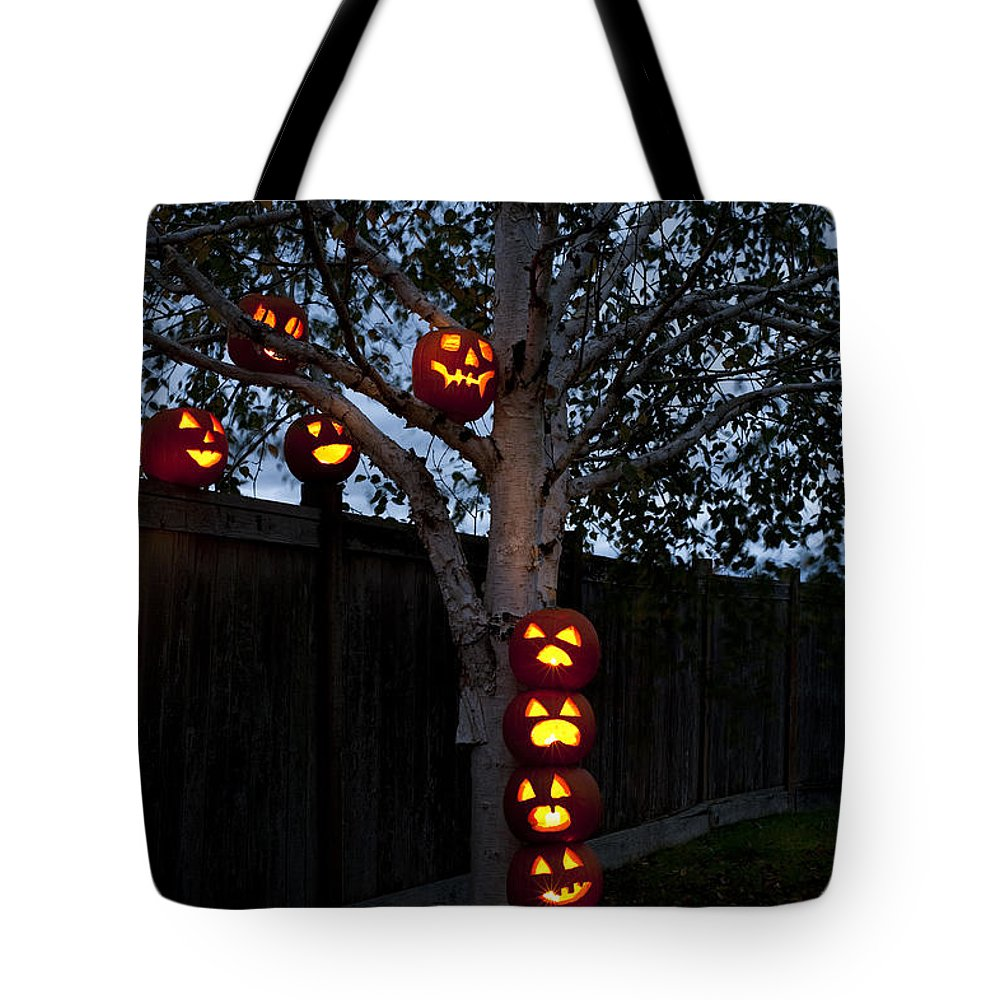 31st Tote Bag featuring the photograph Pumpkin Escape Over Fence by Jim Corwin